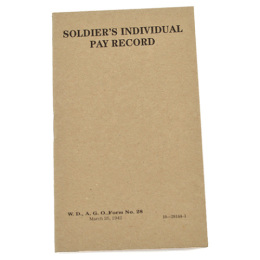 Průkaz US SOLDIERS INDIVIDUAL PAY RECORD